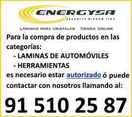Para la compra de productos en las categorías: Láminas de Automómoviles y Herramientas, es necesario estar autorizado o puede contactar con nosotros llamando al: 91 510 25 87